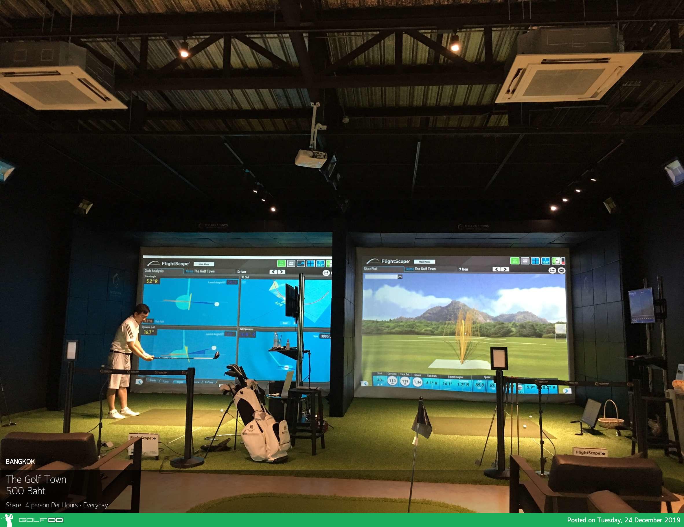 The Golf Town (Golf Simulator) ตีกอล์ฟห้องแอร์ หมดปัญหาค่าแคดดี้และรถกอล์ฟ